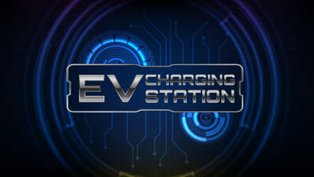 abstract background of futuristic hud ui screen and EV electronic vehicle car charging stations sign