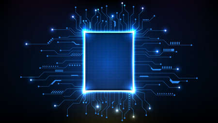 abstract background of futuristic main core processor chips with circuit line
