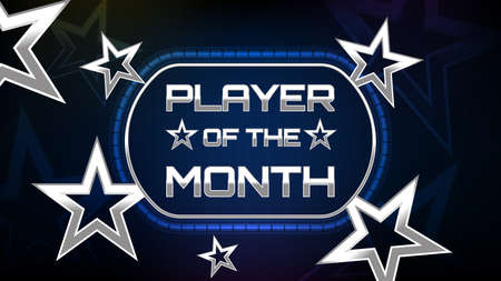 abstract background of metal star and player of the month sign text