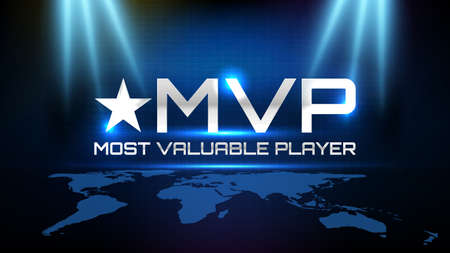 abstract background of blue futuristic technology glowing blue and black motion line and most valuable player(MVP) text 矢量图像