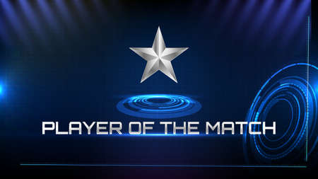abstract background of blue futuristic technology metal star and player of the match sign text Vectores