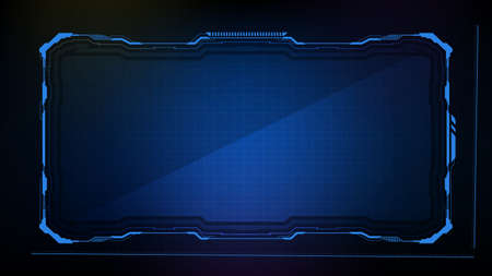 Abstract futuristic background. Blue glowing technology sci fi frame hud ui Vectores