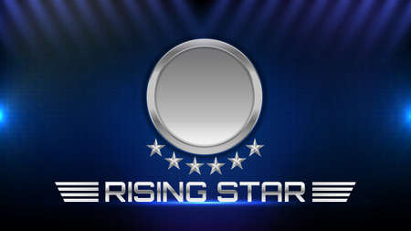 abstract background of glowing metal star and rising star sign text 矢量图像
