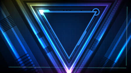 abstract background of Blue glowing triangle star technology sci fi frame hud ui