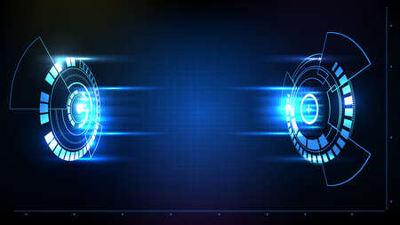 Abstract background of futuristic hud gui battle fight display panel with light Vectores
