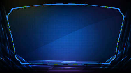 Abstract futuristic background. Blue glowing technology sci fi frame hud ui 矢量图像