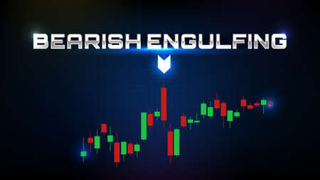 abstract background of bearish engulfing stock market and indicator candle graph