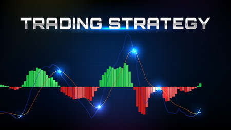 abstract background of trading stock market MACD indicator technical analysis graph with stock market volume chart