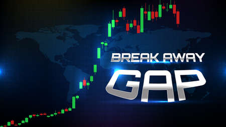 abstract background of trading stock market break away gap with stock market volume chart