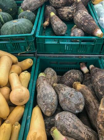 close up of taro on shelf at supermarket background
