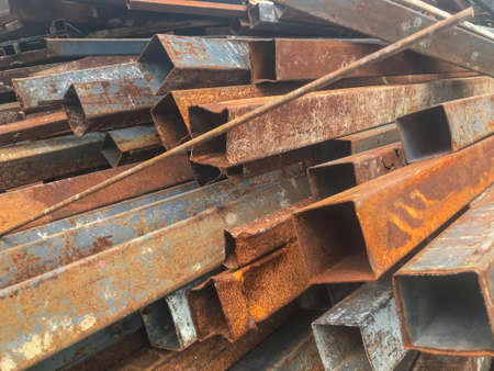 close up Stack of steel bar at construction site