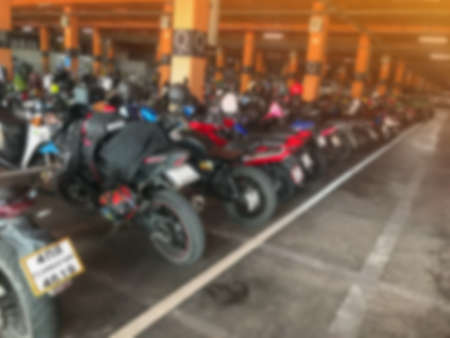 blurry of indoor motocycle parking lot background Banque d'images