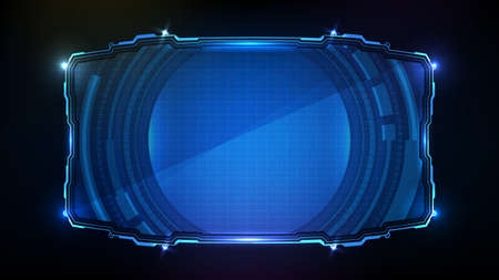 abstract futuristic background of blue glowing technology sci fi frame hud ui Illustration