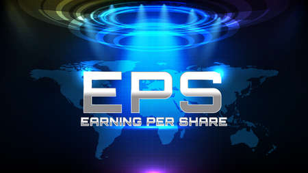 abstract background of blue futuristic Earnings per share or EPS
