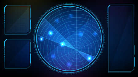 abstract background of futuristic technology hud ui scan interface intruder alert signal