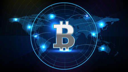 abstract background of futuristic technology screen scan radar with world maps and Bitcoin sign text