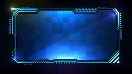 Abstract futuristic background. Blue glowing technology sci fi frame hud ui Illustration