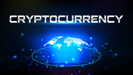 abstract background of futuristic technology screen scan radar with world maps and cryptocurrency sign text