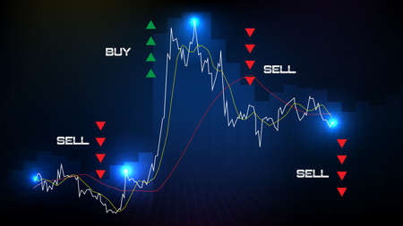 abstract background of buy or sell stock market and indicator candle graph Illustration