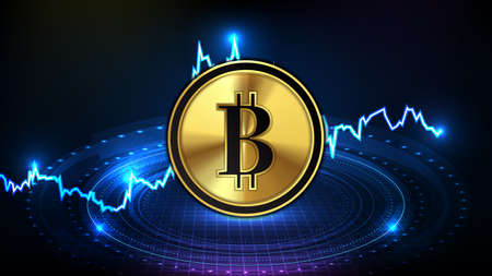 abstract futuristic technology background of bitcoin digital cryptocurrency and market graph down Illustration