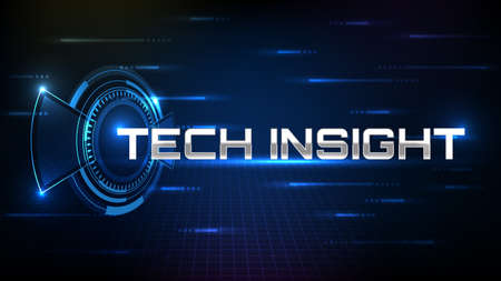 abstract background of blue futuristic technology metal text Technology Insight with hud ui display