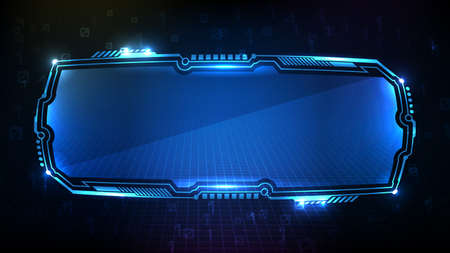 abstract futuristic background of blue glowing digital number technology sci fi frame hud ui