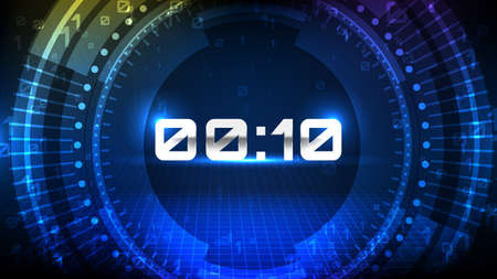 abstract background of blue HUD Futuristic Element Loading count donw digital number