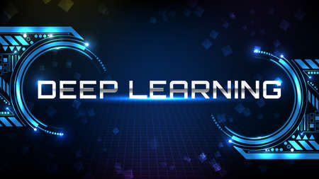 abstract background of blue futuristic technology metal text Deep Learning Technology with hud ui display