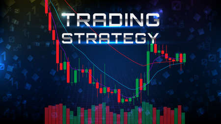 abstract background of trading stock market EMA indicator technical analysis graph with stock market volume chart