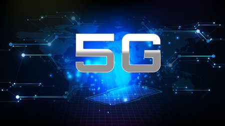 Abstract futuristic background of interface sci fi frame hud ui with 5g technology new wireless line connection
