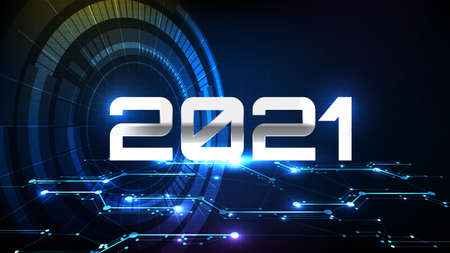 abstract background of futuristic digital electronic circuit line and New year 2021 with hud 向量圖像