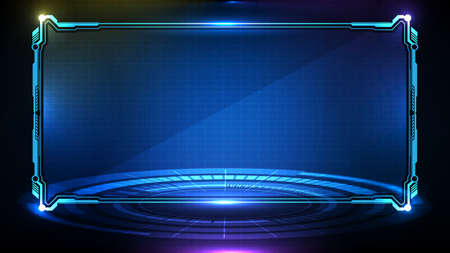 abstract futuristic background of blue glowing technology sci fi frame hud ui 向量圖像