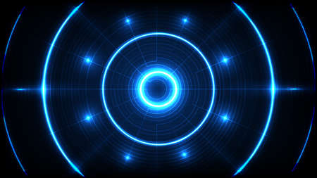 abstract background of blue futuristic technology round hole hud display interface