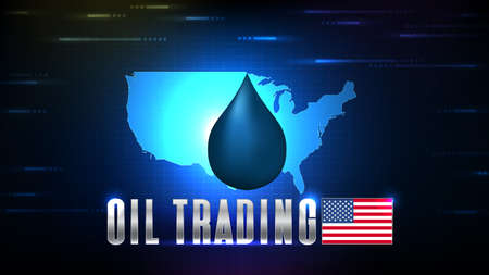 abstract background of blue crude oil drop on stock market trading and usa maps background 矢量图像