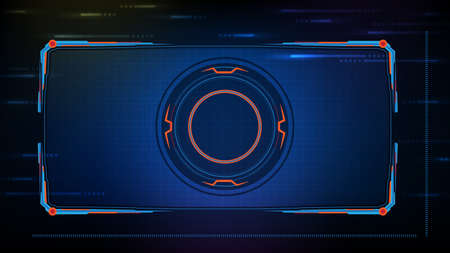 abstract futuristic background of blue glowing technology sci fi frame hud ui 矢量图像