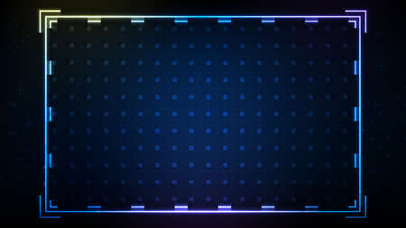 abstract background of blue neon hud ui with memphis geometric
