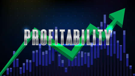 abstract futuristic blue background of profitability stock market with volume bar chart