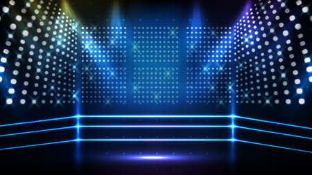 Abstract futuristic blue background of boxing ring stage with beautiful spotlight ray