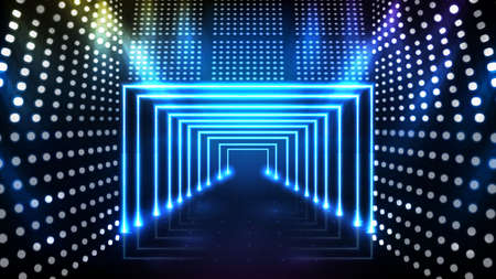 Abstract futuristic blue background of stage neon door with beautiful spotlight ray