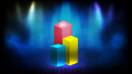 abstract background of top 3 bar chart pedestal stand