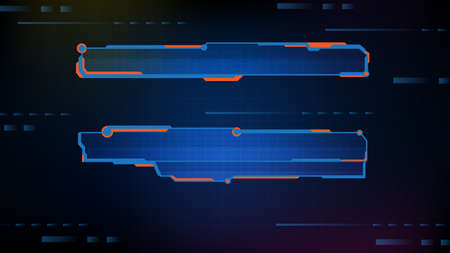abstract futuristic background of blue glowing technology sci fi frame, hud ui, lower third button bar 矢量图像