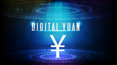 abstract background of futuristic technology china yuan digital currency with screen hud ui