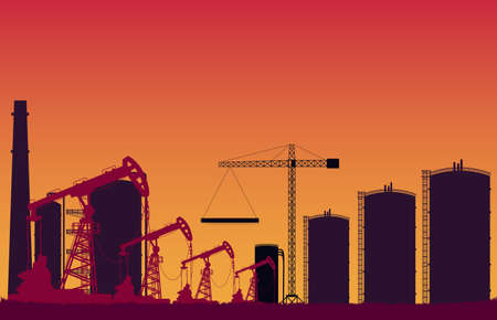 silhouette crude oil pump station and tank construction site on orange gradient background