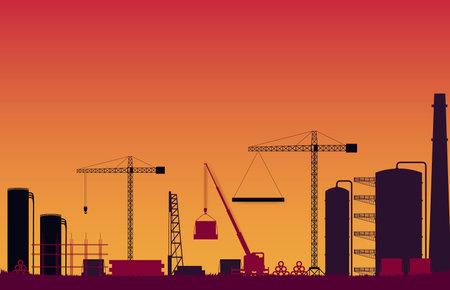 silhouette construction site on orange gradient background