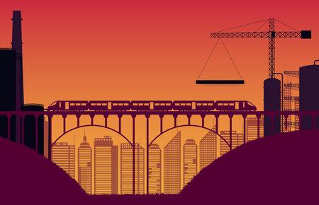 silhouette construction site and train with bridge on orange gradient background 矢量图像
