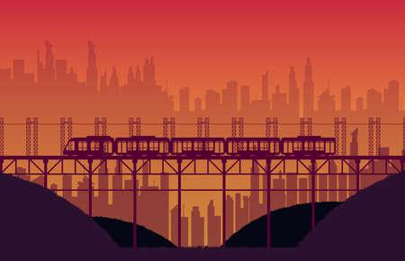 silhouette high speed train rail road with bridge on orange gradient background