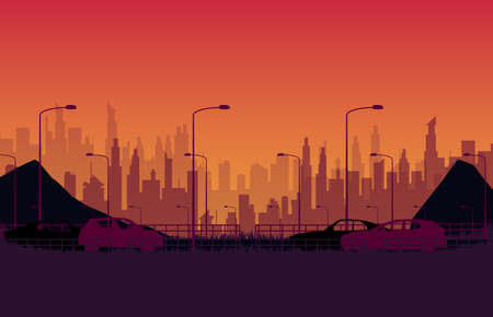 silhouette car on the road with city evening on orange gradient background