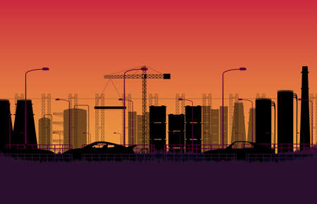 silhouette car on the road with city construction factory Industrial estate on orange gradient background