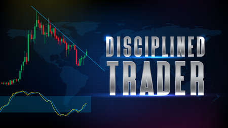 abstract background of stock market Disciplined Trader text with candle stick graph