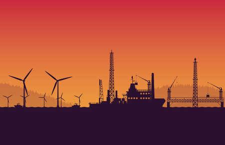 silhouette service vessel ship with operation petroleum platform on orange gradient background